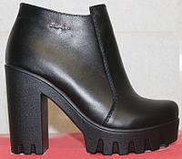 Ботинки женские весенние кожаные на высоком каблуке, обувь весенняя женская от производителя модель СТБ11