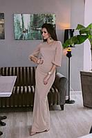 Длинное платье из креп - дайвинга с рукавами воланами в расцветках190, фото 1