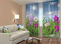 """ФотоШторы """"Полевые яркие цветы"""" 2,5м*2,0м (2 половинки по 1,0м), тесьма"""