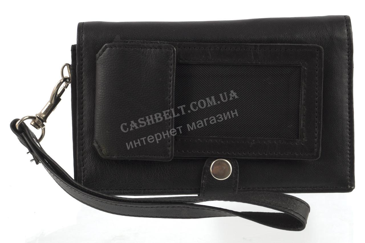 Мужская стильная черная сумка-барсетка с отделением для мобильного телефона с натуральной кожи SWAN  art. черн