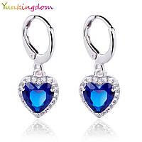"""Серьги классические с кристаллами Swarovski и камнем """"Синие сердце"""""""
