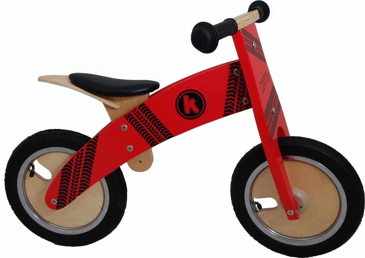 """Беговел 12"""" Kiddi Moto Kurve деревянный, с рисунком протектора, красный"""