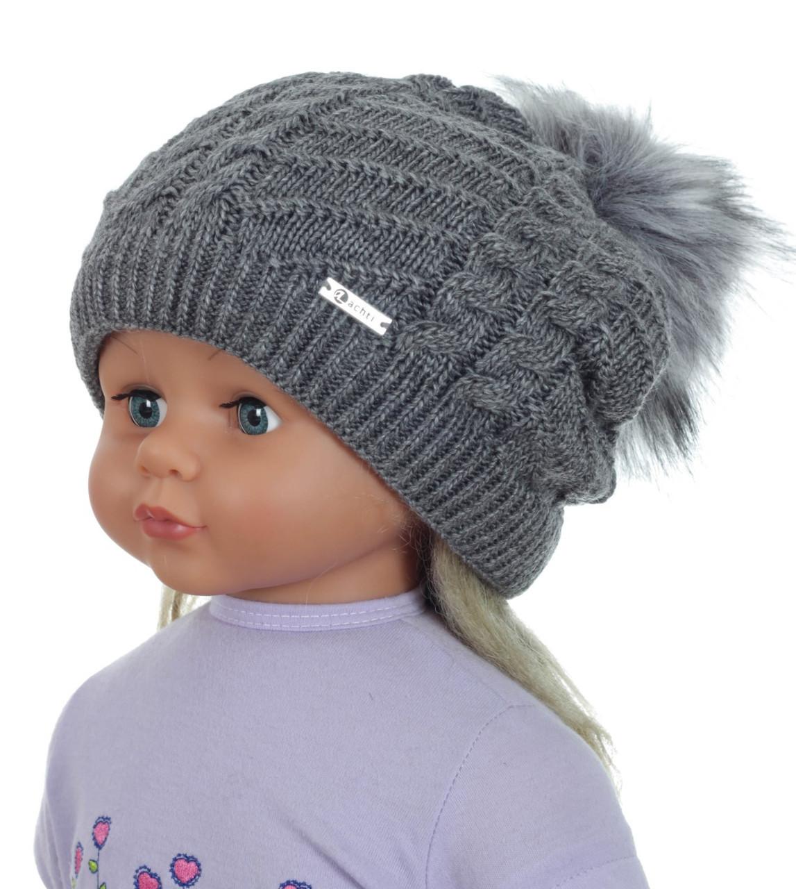 Детская теплая вязаная шапочка для девочки подростка ACHTI Польша