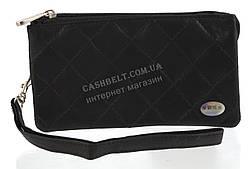 Стильная черная сумка-барсетка с отделением для мобильного телефона с натуральной кожи SWAN  art. стеганная