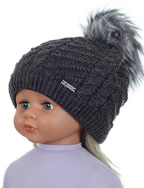 Детская теплая вязаная шапочка для девочки подростка ACHTI Польша, фото 2