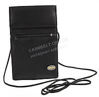 Мужская стильная черная нашейная сумка кошелек с натуральной кожи SWAN  art. шнурок черный, фото 1