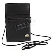 Мужская стильная черная нашейная сумка кошелек с натуральной кожи SWAN  art. шнурок черный