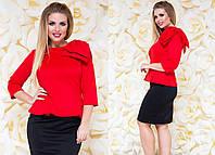 Женский деловой костюм с юбкой Бант красный Батал
