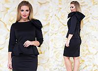 Женский деловой костюм с юбкой Бант чёрный Батал