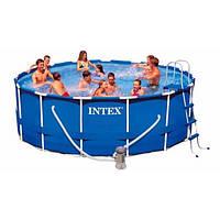 Каркасный бассейн 457x122 см,фильтр-насос,тент,лестница,подстилка
