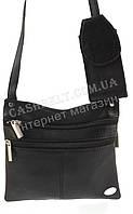 Мужская стильная черная наплечная сумка с натуральной кожи с отделением для телефона SWAN  art. две молнии