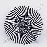 Подвесной веер, черно-белый, 30 см - бумажный декор-розетка