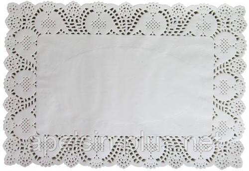 Кондитерские ажурные прямоугольные салфетки 40 см - 30 см (набор 100 штук)