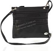 Мужская стильная черная наплечная сумка с натуральной кожи с креплением на пояс SWAN  art. три молнии