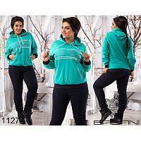 Спортивный костюм женский большого рамера  большого рамера  снежинки 11274 ментол+темно-синий