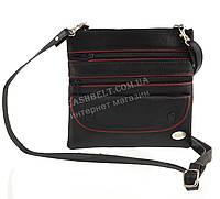 Мужская стильная черная наплечная сумка с натуральной кожи с красными вставками SWAN  art. с клапаном 1, фото 1