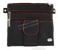 Мужская стильная черная наплечная сумка с натуральной кожи с красными вставками SWAN  art. отделение для телеф