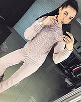 Женский костюм с крупным узором бежевый, фото 1