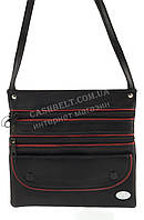 Мужская стильная черная наплечная сумка с натуральной кожи с красными вставками SWAN  art. с клапаном 2