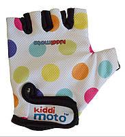 Перчатки детские Kiddi Moto белые в цветной горошек, размер S на возраст 2-4 года