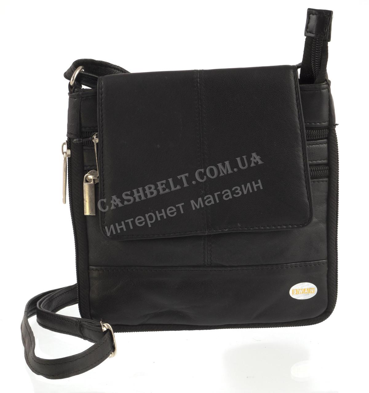34a9acf996d4 Мужская стильная черная наплечная сумка с натуральной кожи SWAN art. с  клапаном на магните