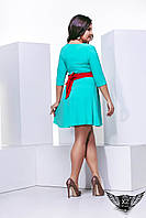 Красное платье большого размера  с вырезом и рукавом 3/4 больших размеров