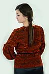 Нарядная блузка из бархата  терракотового цвета с хищным принтом трикотажная  бл 005-1., фото 2
