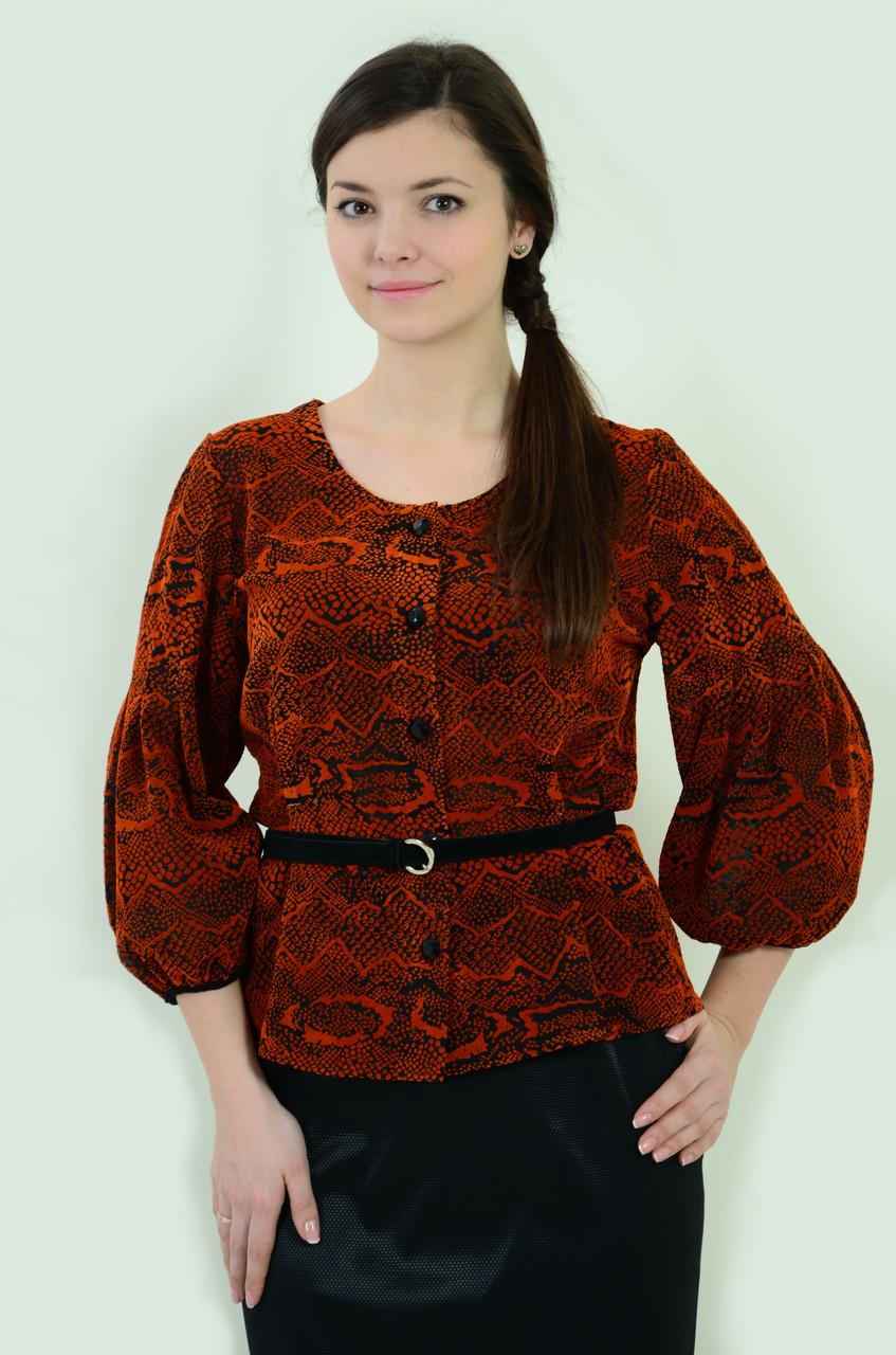Нарядная блузка из бархата  терракотового цвета с хищным принтом трикотажная  бл 005-1.