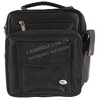 Мужская стильная черная сумка барсетка с ручкой под руку с натуральной кожи SWAN  art. шлейка на плечо