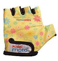 Перчатки детские Kiddi Moto жёлтые с цветами, размер М на возраст 4-7 лет