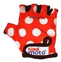 Перчатки детские Kiddi Moto красные в белый горошек, размер М на возраст 4-7 лет