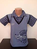 Детская одежда оптом Футболка-обманка для мальчиков-подростков оптом р.134-152см, фото 1