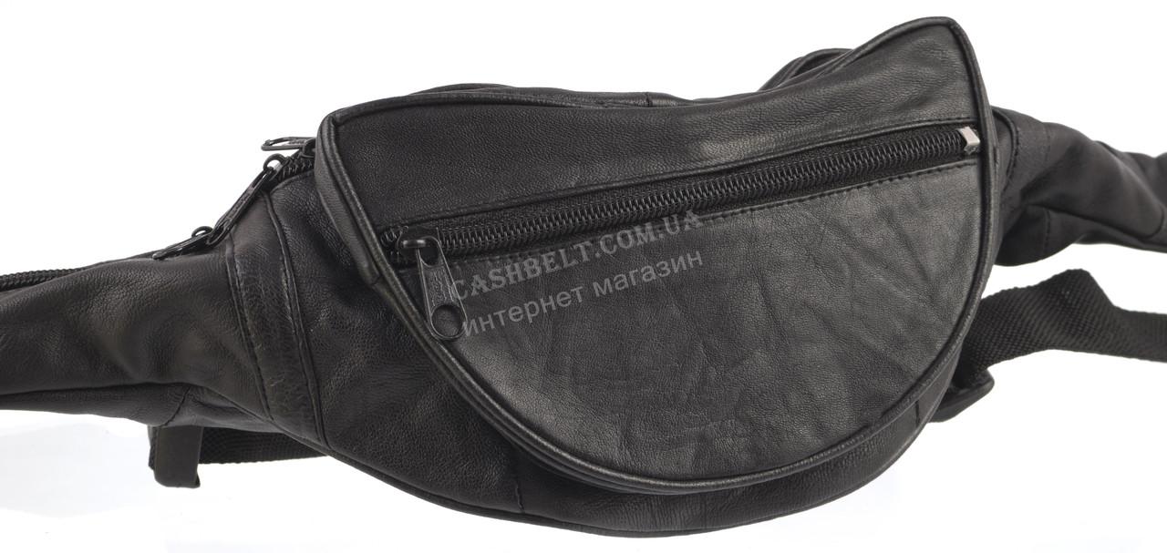 Мужская удобная черная сумка на пояс с натуральной кожи SWAN  art. сумка на пояс