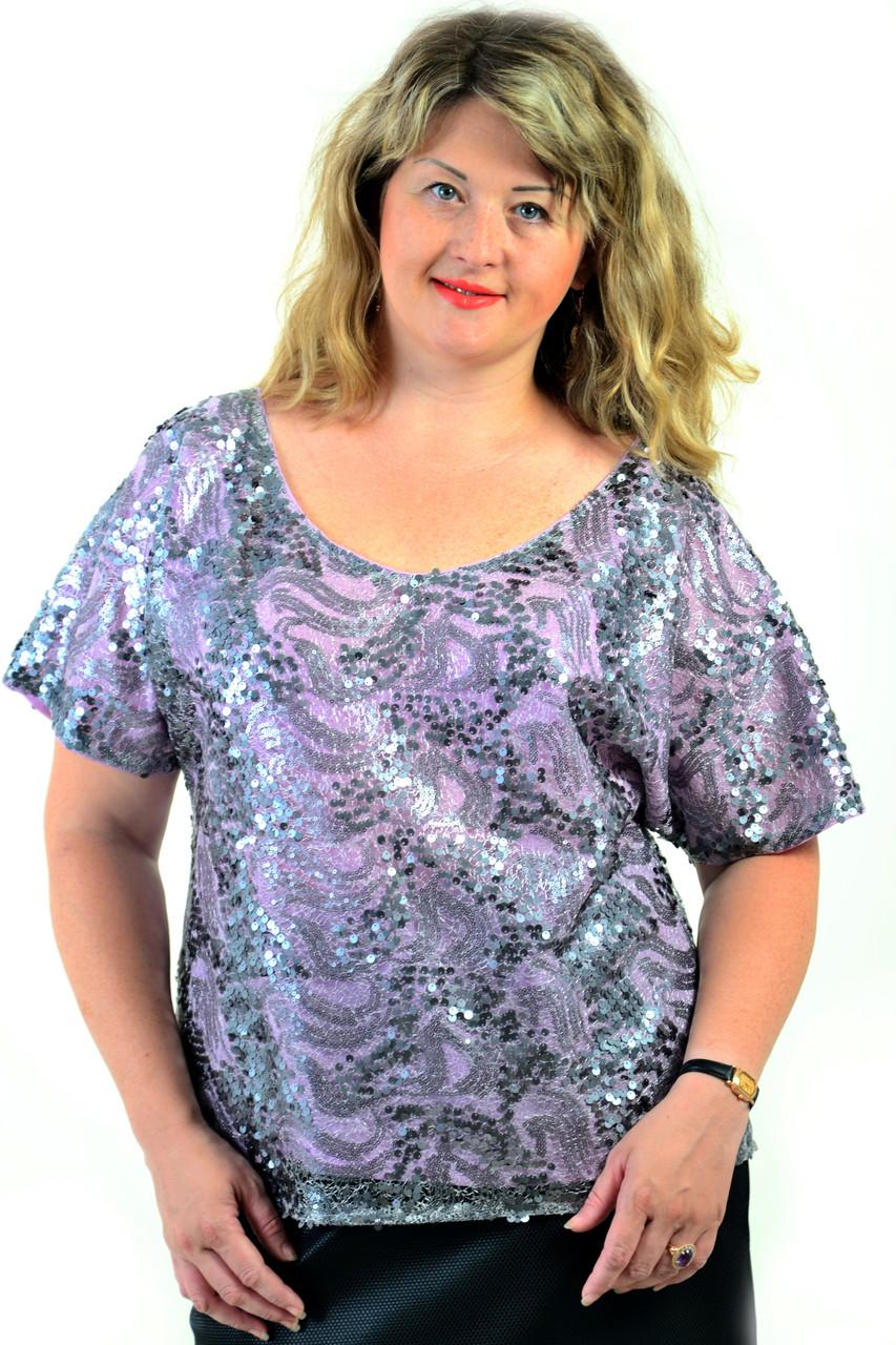 Блуза нарядная из кружева с пайеткой на шифоновой подкладке ,бл 557-1.
