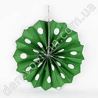 Подвесной веер, зеленый в горох, 30 см - бумажный декор-розетка