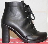 Высокие женские ботинки весенние кожаные на каблуке, женская обувь весна от производителя модель СТБ15