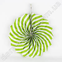 Подвесной веер, салатово-белый, 20 см - бумажный декор-розетка