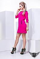 Женское платье с кожаными вставками мини рукав 3/4 v образный вырез, фото 1