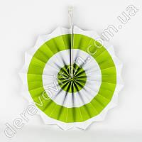 Подвесной веер, белый в салатовую полоску, 30 см - бумажный декор-розетка