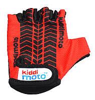 Перчатки детские Kiddi Moto с рисунком протектора, красные, размер М на возраст 4-7 лет