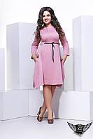 Платье большого размера  с пояском короткое розовое , фото 1