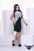 Платье большого размера с гипюром  бордовое короткое