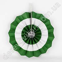 Подвесной веер, белый в зеленую полоску, 30 см - бумажный декор-розетка