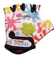 Перчатки детские Kiddi Moto цветные кляксы, белые, размер М на возраст 4-7 лет