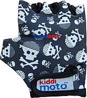 Перчатки детские Kiddimoto чёрные с черепами, размер М на возраст 4-7 лет