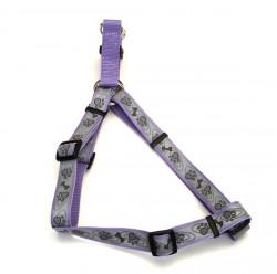 Coastal Lazer свето-отражающая шлея для собак, лапа кость фиолетовый, 2,5см, 66-97см