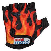 Перчатки детские Kiddi Moto чёрные с языками пламени, размер М на возраст 4-7 лет