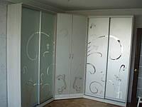 Шкаф купе угловой с рисунком на зеркале на заказ