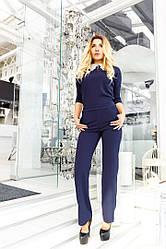 Женский комбинезон,прямые брюки с карманами,комбез с воротником.