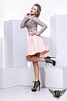 Мини Юбка  до колена  персиковая или бордовая , фото 1